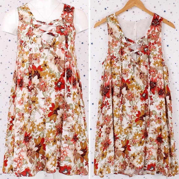 Dresses & Skirts - Floral Print Lace Up Sleeveless A-line Mini Dress